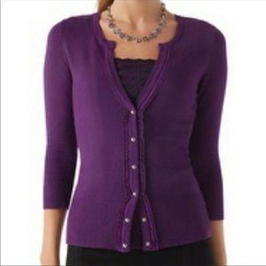 WHBM purple 3/4 sleeve cardigan L